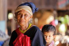 Karen woman with her grandson Stock Photo