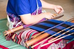 Karen woman weaving of the Karen tribe  Hand-made in chiangmai thailand Royalty Free Stock Photos