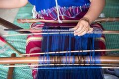 Karen woman weaving of the Karen tribe  Hand-made in chiangmai thailand Stock Photos