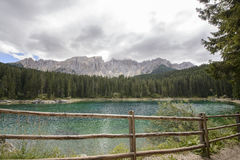 Karersee and fence Royalty Free Stock Photos