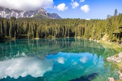 Karersee, lake in the Dolomites in South Tyrol, Italy Royalty Free Stock Image