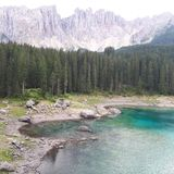 Karersee, wilderness, lake, nature reserve, mountain. Karersee is wilderness, mountain and tree. That marvel has lake, water resources and geological phenomenon Royalty Free Stock Images