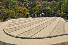 Karesansui of Japanese garden in Ginkakuji Temple Royalty Free Stock Images