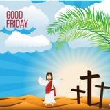 Karfreitags-Hintergrundkonzept Illustration von Jesus Christ mit dem breiten Arm öffnen sich Stockbilder