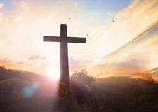 Karfreitags-Konzept: Illustration von Jesus Christ-Kreuzigung an Karfreitag lizenzfreie stockfotografie
