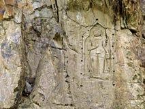 Kargah Boedha, gesneden beeld van Boedha, gilgit-Baltistan, Pakistan royalty-vrije stock fotografie