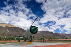 A MIG-21 fighter plane used by India in Kargil war 1999 Operation Vijay. KARGIL, JAMMU AND KASHMIR / INDIA - SEPTEMBER 1ST, 2014 : MIG-21 fighter plane of India royalty free stock images