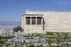 Kariatides på akropolen Royaltyfria Foton