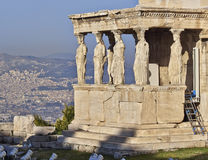 Kariatyd antyczne statuy, erechteion świątynia, Grecja Zdjęcie Stock