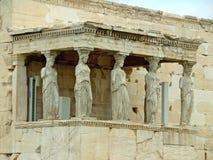 Kariatyda ganeczek Erechtheum starożytnego grka świątynia na akropolu, Ateny Obrazy Royalty Free