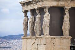 Kariatydy, erechtheion świątynny akropol, Ateny, G Obraz Royalty Free