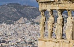 Kariatydy, erechtheion świątynny akropol, Ateny Grecja fotografia stock