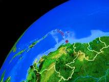 Karibische Meere auf Erde vom Raum stockfotos