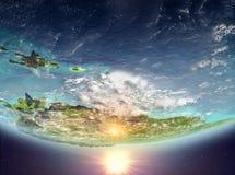 Karibische Meere mit Sonne Stockfotografie