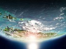 Karibische Meere mit Sonne auf Planet Erde Stockbilder