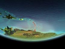 Karibische Meere nachts auf Erde stockfotos