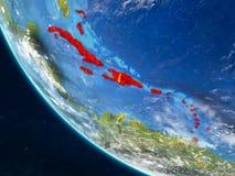 Karibische Meere vom Raum auf Erde stock abbildung