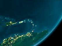 Karibische Meere vom Raum nachts lizenzfreies stockbild
