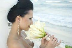 Karibische Strand-Hochzeit - Braut mit Blumenstrauß stockfotos