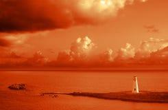 Karibischer Leuchtturm am Sonnenuntergang Lizenzfreie Stockbilder