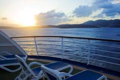 Karibischer Reiseflug-Sonnenuntergang Lizenzfreie Stockfotografie