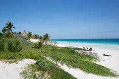 Karibischer Strand Mexiko Tulum Lizenzfreies Stockfoto