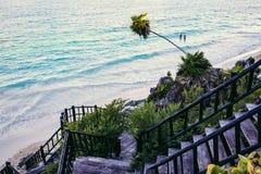 Karibischer Strand Mexiko Tulum Stockbild