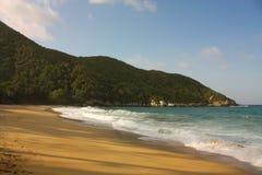 Karibischer Strand mit tropischem Wald. Kolumbien Stockbilder