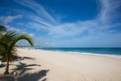 Karibischer Strand mit weißem Sand, dem Ozean, den Palmen und einigen Wolken Lizenzfreie Stockfotos