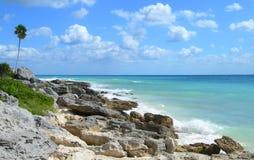 Karibischer Strand am Riviera-Maya, Cancun, Mexiko lizenzfreie stockfotografie