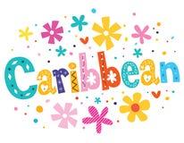 Karibischer Vektor, der dekorative Art beschriftet stock abbildung