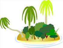 Karibisk ö med palmträd, buskar och stranden Royaltyfri Fotografi