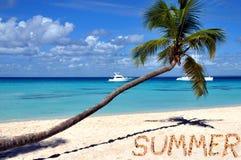 Karibisk strand, sommar i sand Arkivbilder