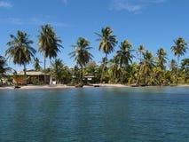 Karibiska hus på en tropisk ö Royaltyfri Fotografi