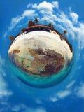Karibiskt hav, Los Roques Semester i det blåa havet och de öde öarna fred vektor illustrationer