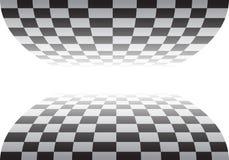Karierte Kurve auf weißem Designrennmeisterschafts-Hintergrundvektor lizenzfreie abbildung