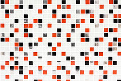 Karierte Musterfliesenhintergrund-, -ROT- und -SCHWARZkontrollen Stockfotos