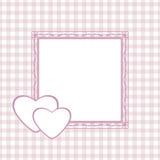 Karierter Hintergrund mit Rahmen für die Grußverpackung zum Valentinsgruß-Tag Stockfotografie