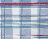 Kariertes Mustergewebegewebe Masern Sie Farbe, Blau, roter Stoffhintergrund Stockfotografie