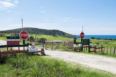Karikari Peninsula, Northland, New Zealand, NZ - February 26, 2017: Public access is not permitted on private Maori land stock photos