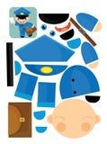Karikaturübung mit Scheren für childlren - Briefträger Stockfotografie