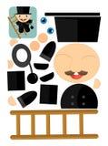 Karikaturübung mit Scheren für childlren - Schornsteinfeger Lizenzfreie Stockbilder