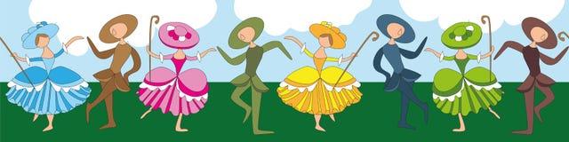 Karikatur-ähnliche Hirtenverzierung mit Tanzenschäferinnen Stockfoto