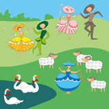 Karikatur-Ähnliches Hirten mit Tanzenschäferinnen Stockfotografie