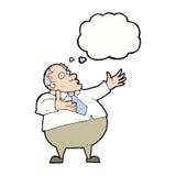 Karikatur ärgerte Mitte gealterten Mann mit Gedankenblase Lizenzfreies Stockfoto