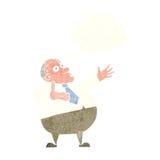 Karikatur ärgerte Mitte gealterten Mann mit Gedankenblase Lizenzfreie Stockbilder
