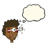 Karikatur überraschte Mann mit Augen, heraus knallend mit Gedankenblase Lizenzfreie Stockfotos