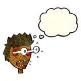 Karikatur überraschte Mann mit Augen, heraus knallend mit Gedankenblase Lizenzfreie Stockbilder