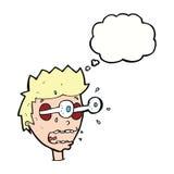Karikatur überraschte Mann mit Augen, heraus knallend mit Gedankenblase Stockbilder