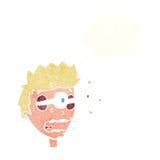 Karikatur überraschte Mann mit Augen, heraus knallend mit Gedankenblase Stockfotografie
